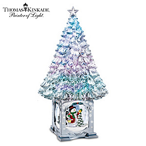 Thomas Kinkade Illuminated Musical Christmas Tree Snowglobe