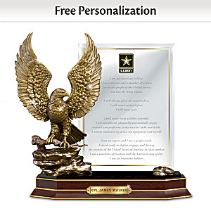 """Army Honor"" Eagle Sculpture With Personalized Plaque"