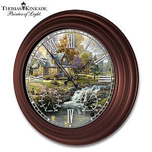 "Thomas Kinkade ""Timeless Moments"" Lighted Atomic Wall Clock"