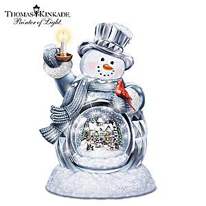 Thomas Kinkade Illuminated Musical Snowman Snowglobe