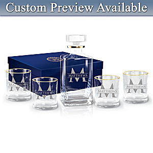 Personalized Five-Piece Decanter And Glasses Set