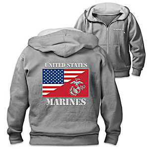Men's Front Zip Hoodie With US And USMC Flags