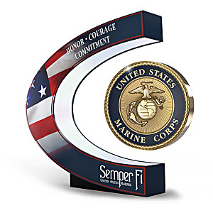USMC Levitating Medallion Sculpture Lights Up And Spins