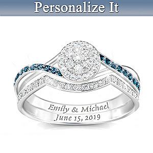 Custom Engraved Bridal Ring Set With Blue And White Diamonds