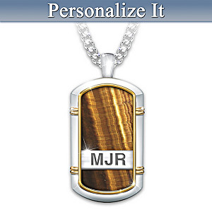 """""""Courageous Son"""" Tiger's Eye Dog Tag Necklace With Initials"""