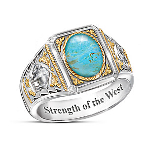 """Strength Of The West"" Turquoise Ring With Sculpted Bison"