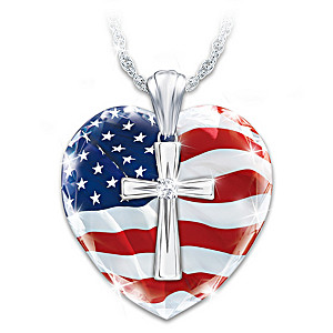 """God Bless America"" Diamond Cross Heart Pendant Necklace"