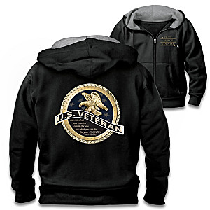 U.S. Veteran Embroidered Front Zip Cotton-Blend Knit Hoodie
