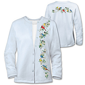 """Nature's Symphony"" Embroidered Songbird Cardigan Sweater"