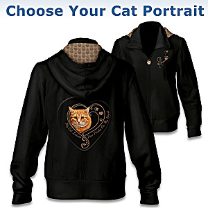 """Paw Prints On My Heart"" Hoodie: Choose Your Cat Portrait"