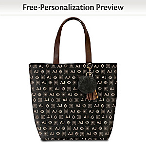 Black Tote Bag With Your Initials In Designer Pattern