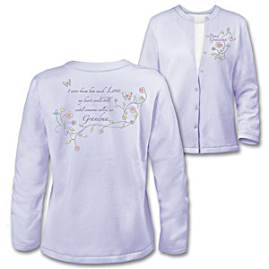 """Grandma's Loving Heart"" Embroidered Cardigan Sweater"