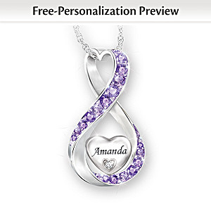 Daughter Name-Engraved Birthstone And Diamond Necklace