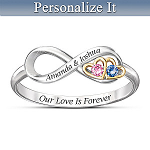 """Our Love Is Forever"" Birthstone Ring With Engraved Names"