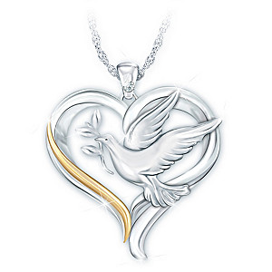 """""""Peace And Love"""" Diamond Pendant Necklace With Sculpted Dove"""