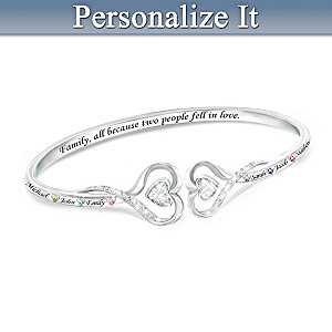 """""""Family Forever"""" Bracelet With Up To 6 Birthstones And Names"""