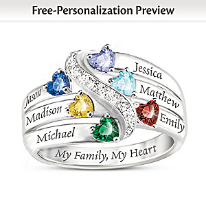"""My Family, My Heart"" Birthstone Ring With Engraved Names"