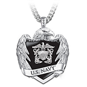 U.S. Navy Stainless Steel Eagle Shield Pendant Necklace