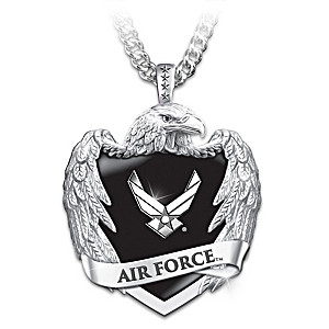 U.S. Air Force Stainless Steel Eagle Shield Pendant Necklace