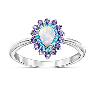 1-Carat Australian Opal Ring With Amethyst And Topaz Stones