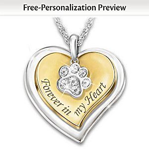 """Forever In My Heart"" Personalized Pet Remembrance Necklace"