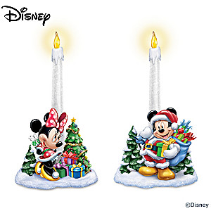 Mickey Mouse And Minnie Mouse Holiday Flameless Candle Set