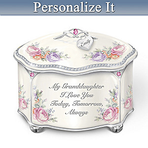 Granddaughter Personalized Heirloom Porcelain Music Box