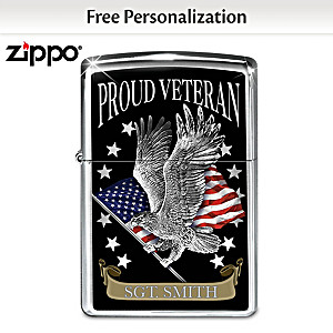 """Proud Veteran"" Personalized Zippo® Lighter"