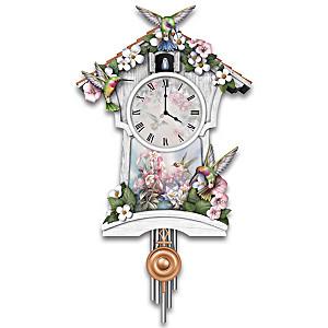 Lena Liu Wall Clock With Hummingbird Art