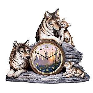 "Al Agnew ""Bonds Of Love"" Clock With Fully Sculpted Wolves"