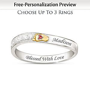 """Love At First Sight"" Personalized Birthstone Family Ring"