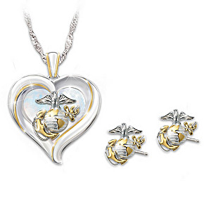 """Heart Of The USMC"" Pendant Necklace and Earrings Set"
