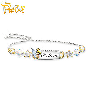 "Tinker Bell ""Believe"" Bracelet With Crystal Beads And Charms"