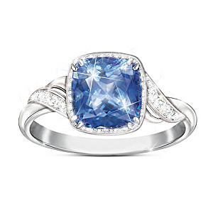 """Blue Splendor"" Women's Blue Helenite And White Topaz Ring"