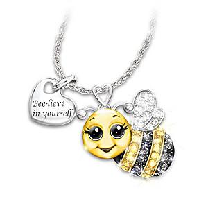 """Always Bee Yourself"" Swarovski Crystal Pendant Necklace"