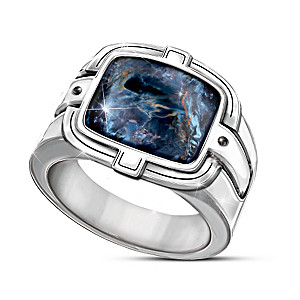 """Master Of The Storm"" Men's Pietersite And Black Onyx Ring"