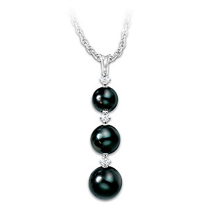 """""""Today, Tomorrow, Always"""" Cultured Black Pearl Necklace"""