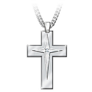 God's Blessings Men's Stainless Steel Cross Pendant Necklace