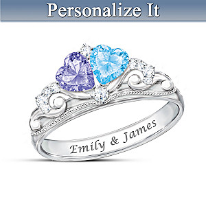 """Our Fairy Tale Romance"" Birthstone Ring With Engraved Names"