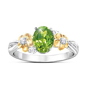 """Nature's Splendor"" Olivine Ring With Genuine White Topaz"