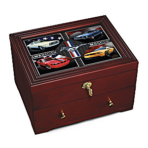 """Ford Mustang: American Muscle"" Wooden Keepsake Box"
