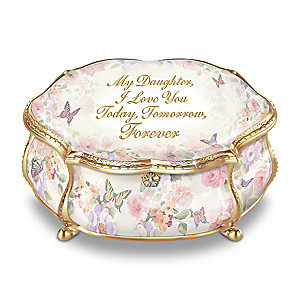 """""""My Daughter Forever"""" Porcelain Music Box With Crystals"""