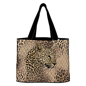 Leopard Print Quilted Tote Bag With Heart-Shaped Charm