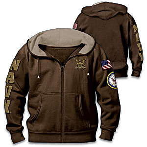"""""""Navy Pride"""" Men's Cotton-Blend Front-Zip Hoodie"""