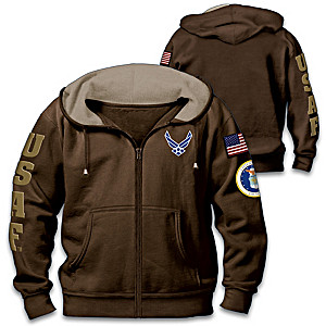 """Air Force Pride"" Men's Cotton-Blend Front-Zip Hoodie"