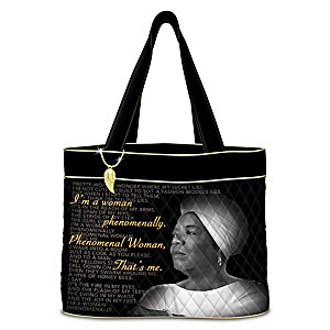 """Maya Angelou Quilted Tote With """"Phenomenal Woman"""" Excerpts"""
