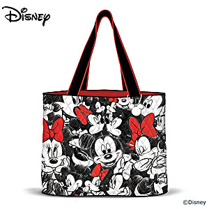 Disney Mickey Mouse & Minnie Mouse Tote Bag And Disney Charm