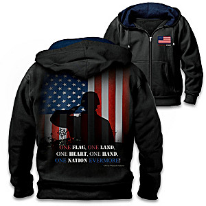 One Nation Men's Hoodie With Flag Art And Embroidered Quote