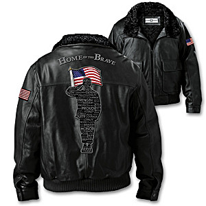 """Salute To Freedom"" Men's Leather Aviator Bomber Jacket"