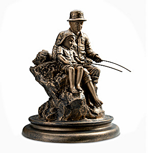 """Summer Memories"" Cold-Cast Bronze Fishing Sculpture"